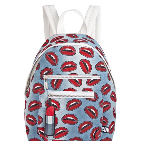 Fun Red Lips Denim Backpack
