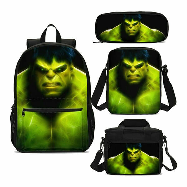Mighty Green Hulk Backpack Set with Lunch Bag
