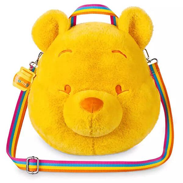 Winnie the Pooh Face Rainbow Stripe Plush Backpack
