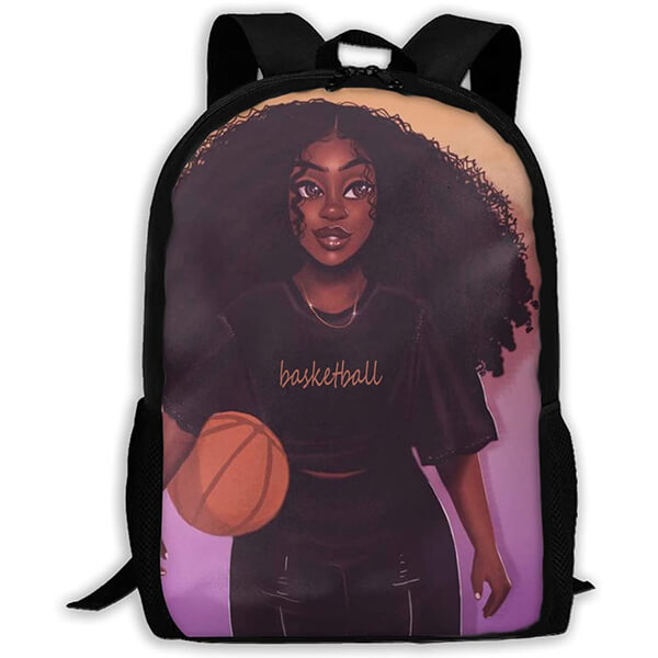 Basketball Player Grade School Girls Afro Backpack