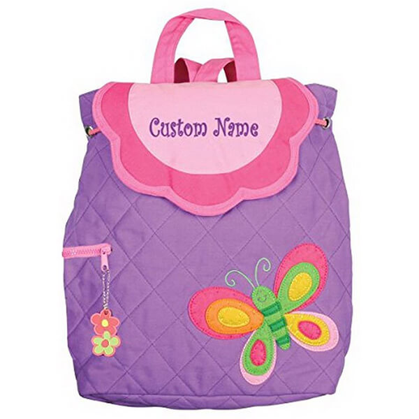 Customized Name Embroidered Purple Butterfly Backpack
