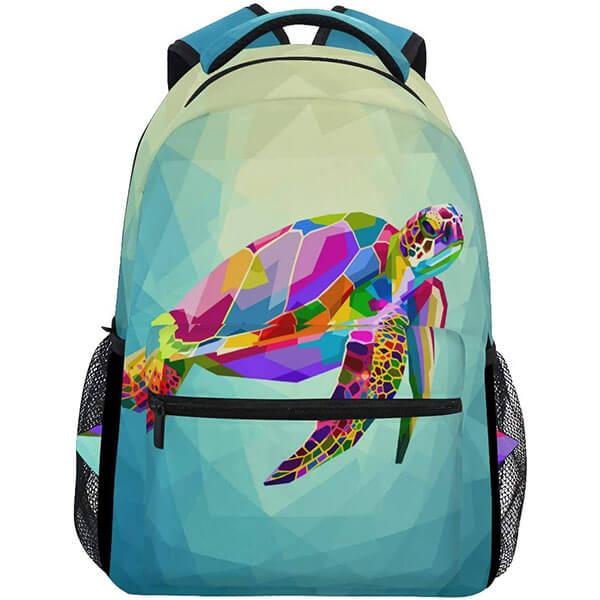 Geometric Blue Ocean Underwater Colorful Sea Turtle Backpack