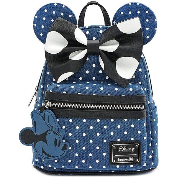 Minnie Mouse Polka Dot Mini Denim Backpack