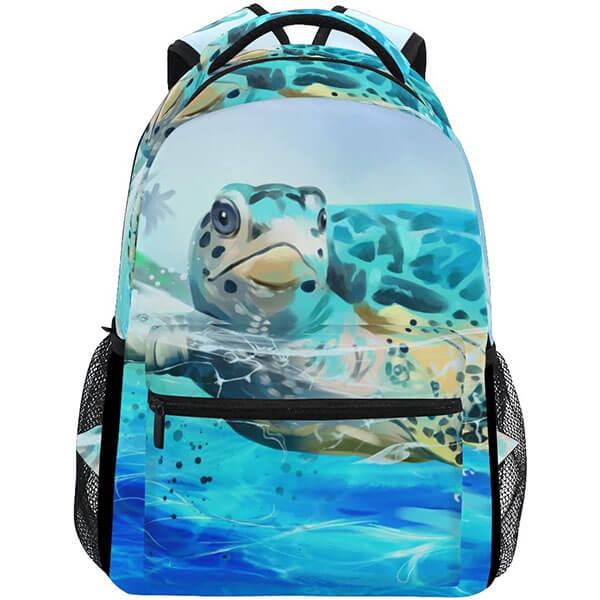 Blue Ocean Swimming Turtle Backpack