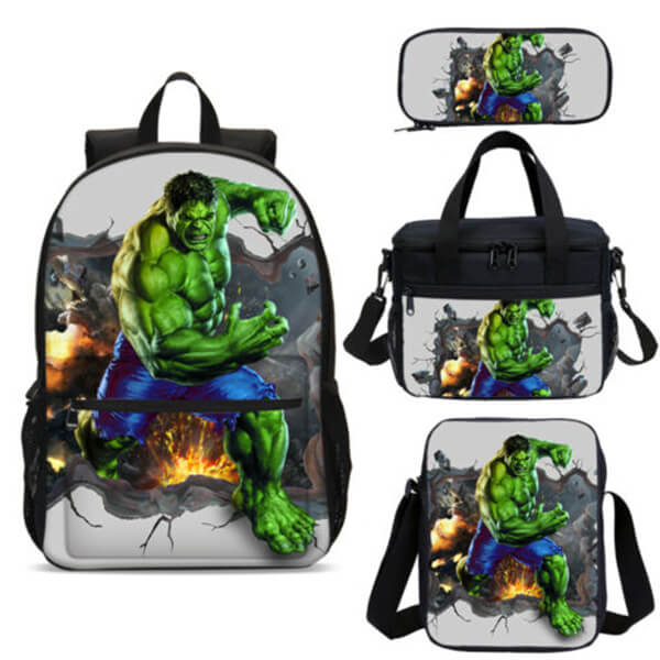 Be On Fire Incredible Hulk Backpack with Cooler Lunch Bag