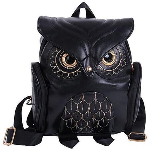Black PU Leather Fashionable Owl Backpack