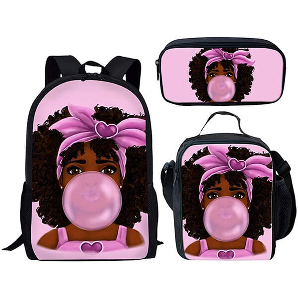 Bubble Gum Love African American Girl Backpack Set