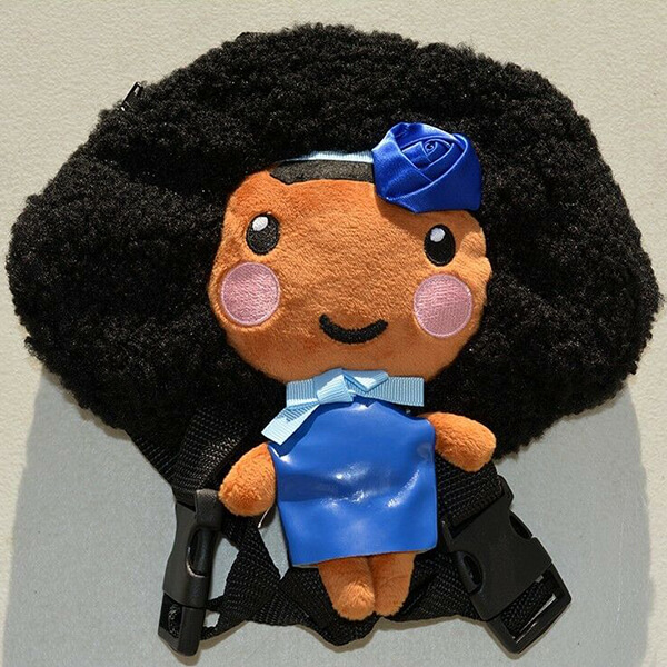 Handcrafted Doll Synthetic Fiber and Cotton Afro Backpack