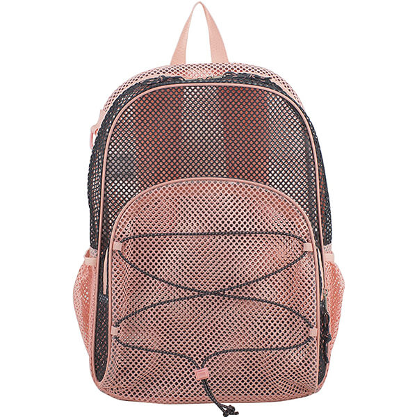 Blush Graphite Bungee Mesh See Through Backpack