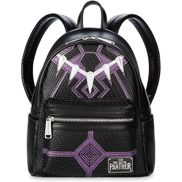 Fabric Lining Faux Leather Mini Black Panther Backpack