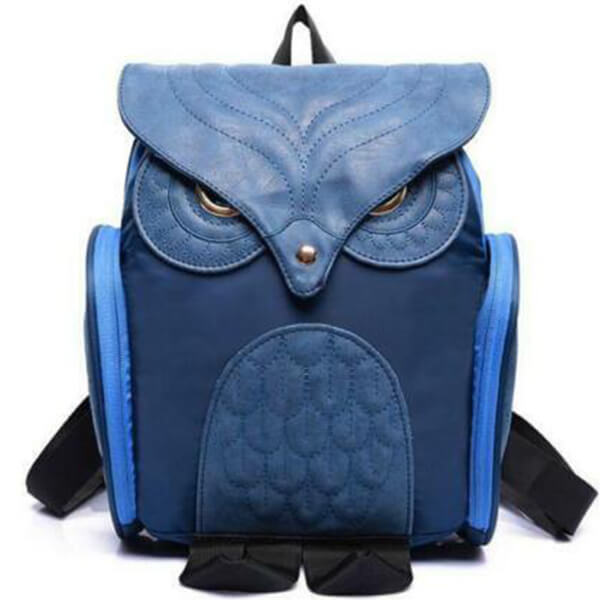 Navy Blue Leather Kindergarten Kids Owl Backpack