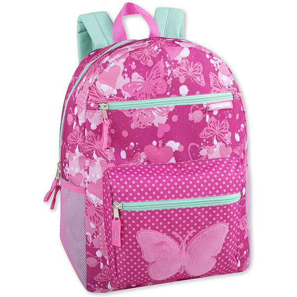 Soft Plush Applique Print Girl's Butterfly Backpack