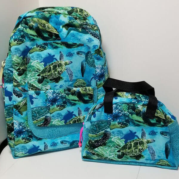 Washable Cotton Blends Sea Turtles Backpack Set
