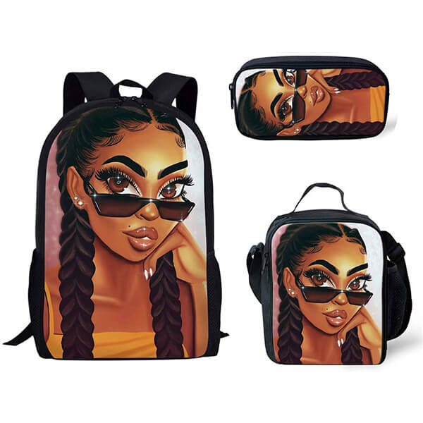 Black Art African American Girl Backpack Set