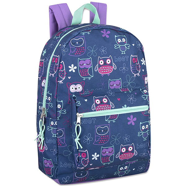 Floral Owl Print Teenagers Hoot Owl Backpack
