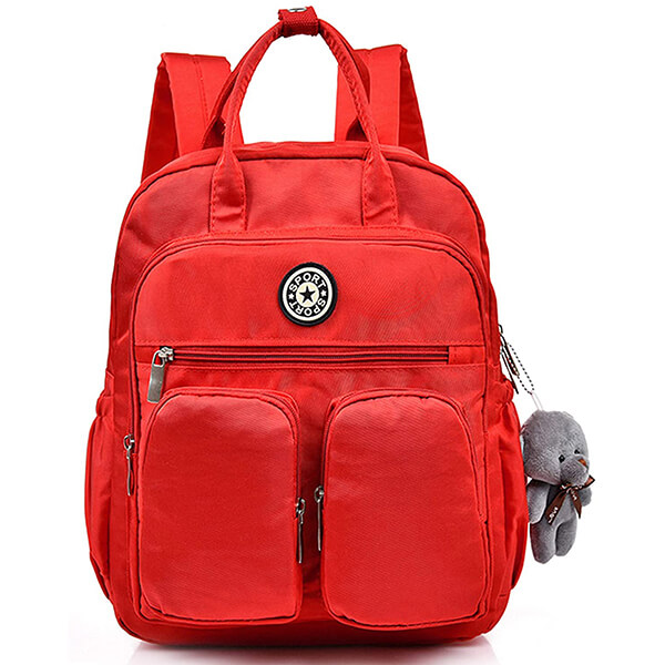 Red Parallel Pockets Nylon Backpack