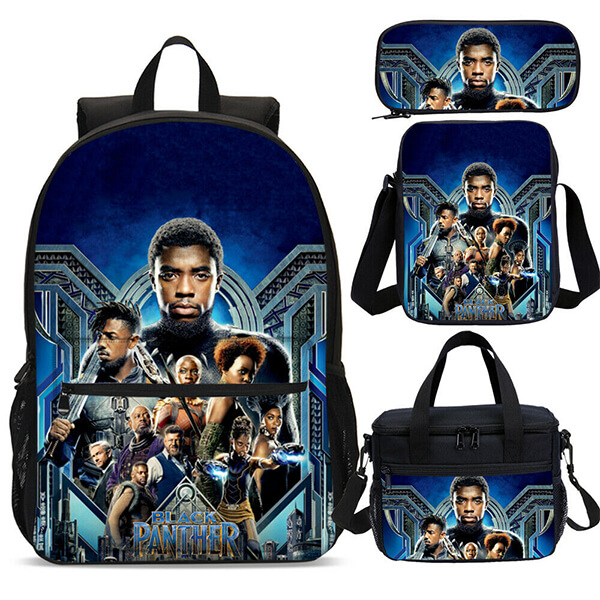 Black Panther Superheroes Backpack Set with Insulated Lunch Bag
