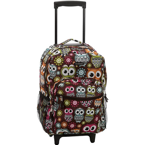 Double Handle Owl Print Grade Schoolers Rolling Backpack