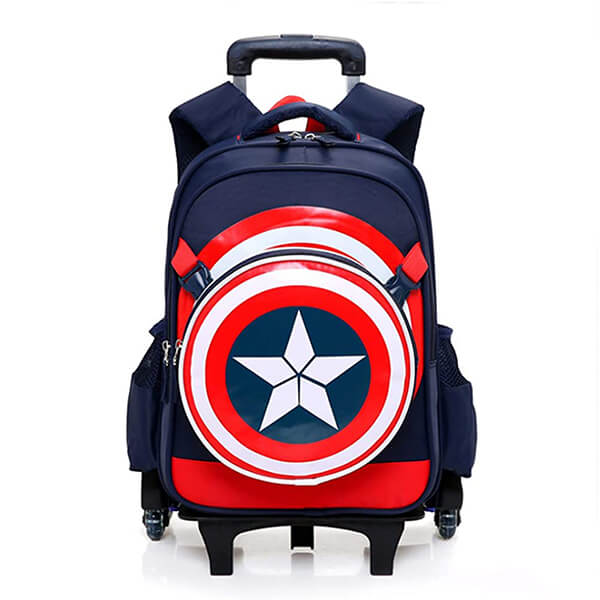 Spiderman Six Wheels Captain America Rolling Backpack and Lunchbox