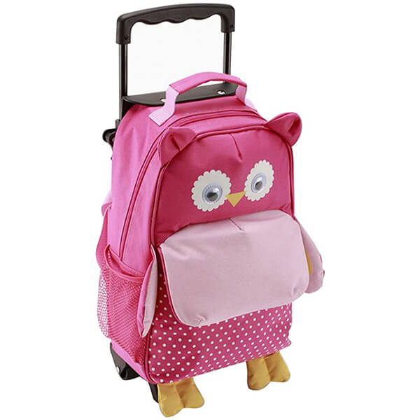 3-Way Kids Suitcase Rolling Owl Backpack with Wheels