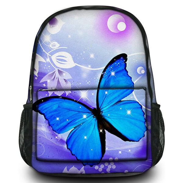 Retro Canvas High Schoolers Blue Butterfly Backpack