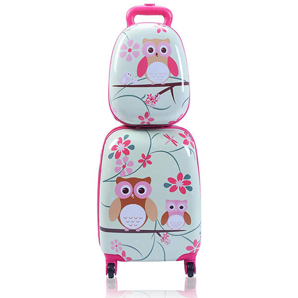 2Pc Carry-On Spinner Kids Luggage Owl Backpack Set