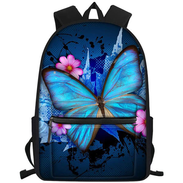 Floral Pattern Waterproof Elementary School Butterfly Backpack