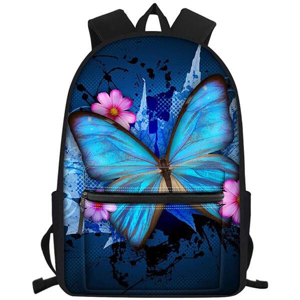 Floral Pattern Waterproof Elementary School Butterfly Backpack