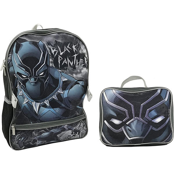 Masked Black Panther Backpack and Lunch Kit for School