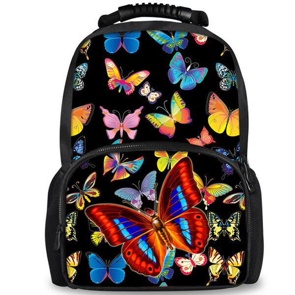 Black Fashion Multi-color Teenagers Butterfly Backpack