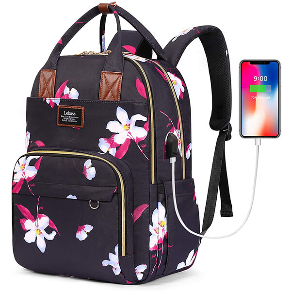 White Flowers Smart Waterproof Nylon Backpack