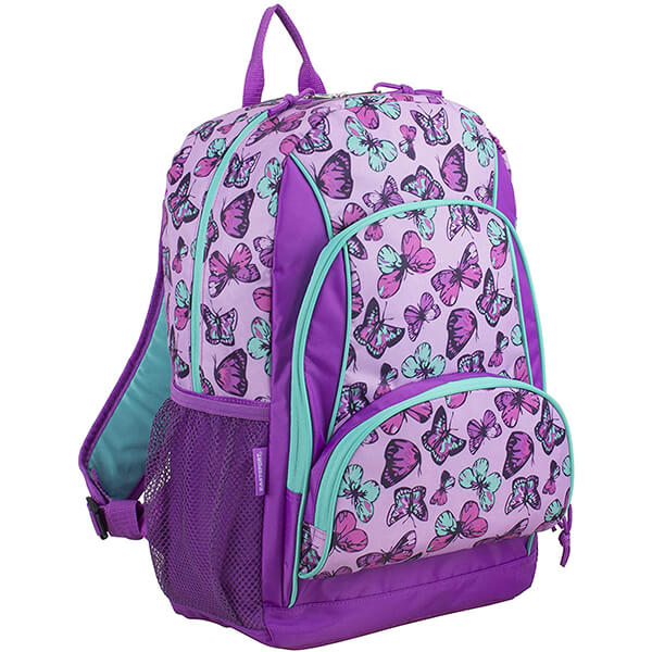 Multi-Pocket Violet Canvas Butterfly Backpack