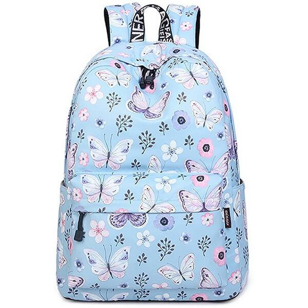 Sky Blue Waterproof Nylon Flowers Butterfly backpack