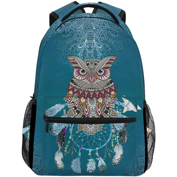 Tribal Dream Catcher Twill weave Owl Backpack