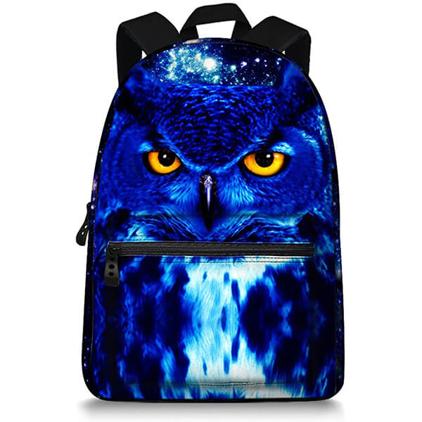 Cool Blue Owl Canvas Backpack for Grade Schoolers