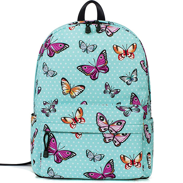 Water Blue Polka Dot Laptop Travel Butterfly Backpack
