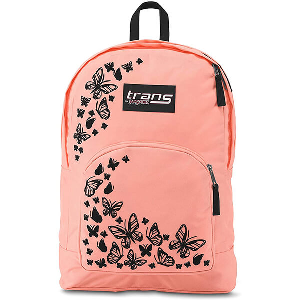 Coral Base Teenagers Butterfly Print Backpack