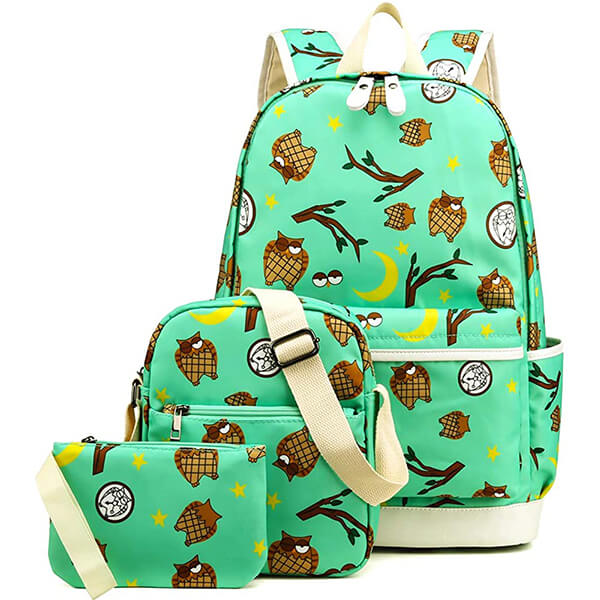 Water Resistant Owl Backpack Set with Shoulder Bag and Pencil Case