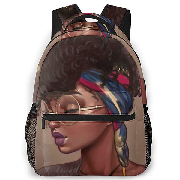 Queen Afro Black Girl Hair Elementary School backpack