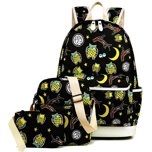 Owl in Moonlit Night Water Resistant Backpack Set for Boys and Girls