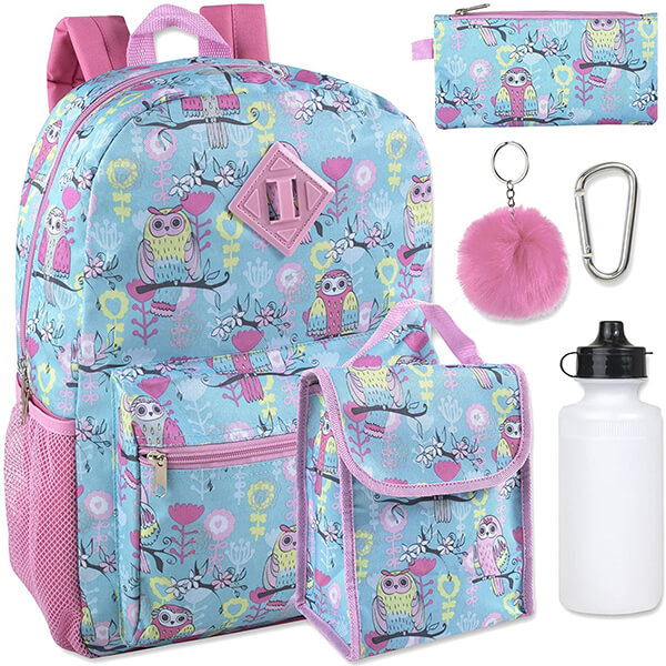 School Girls 6 in 1 Polyester Owl Backpack Set