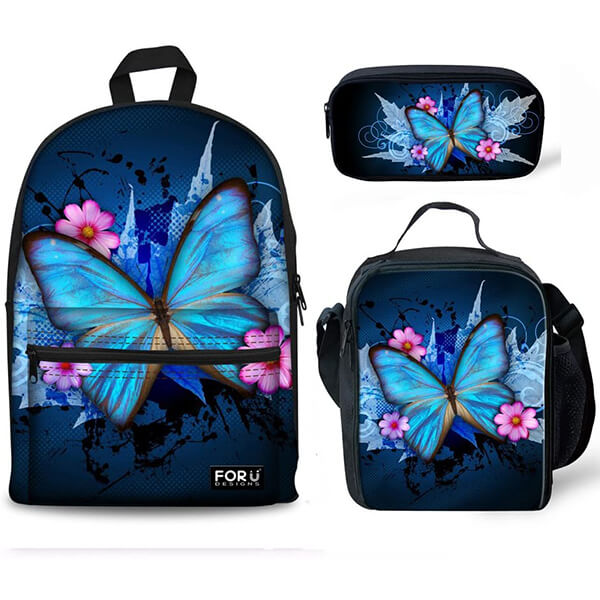 Blue Butterfly Backpack with Lunch Bags and Pencil Case
