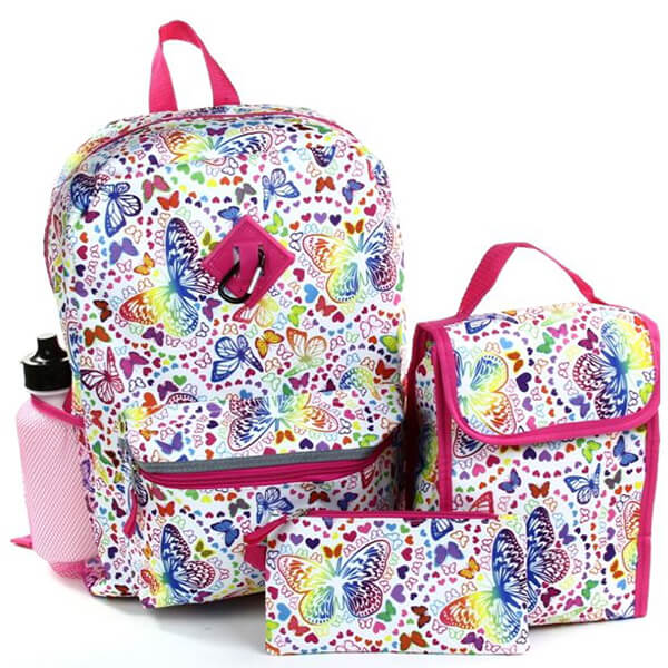5-Piece Rainbow Grade Schoolers Butterfly Backpack Set