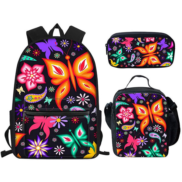 3 in 1 Black Magic Butterfly Backpack Set