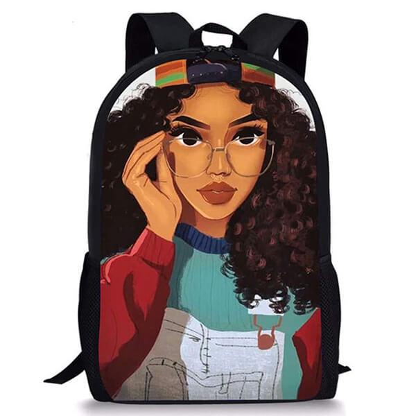 Customizable Black Girls Hairstyle African American Book Bag