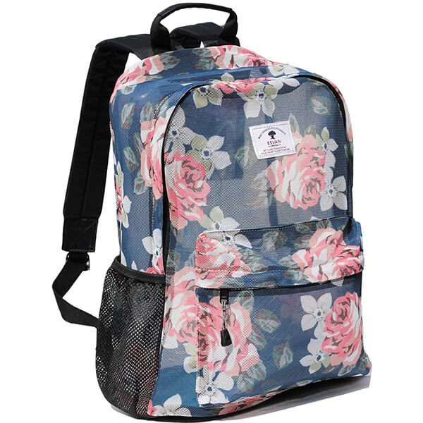 Floral Mesh Backpack for Girls