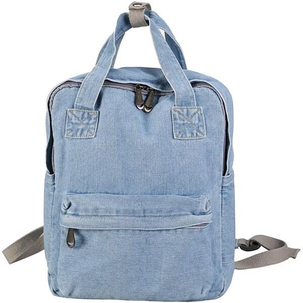 Light Blue Jeans Girls Denim Backpack