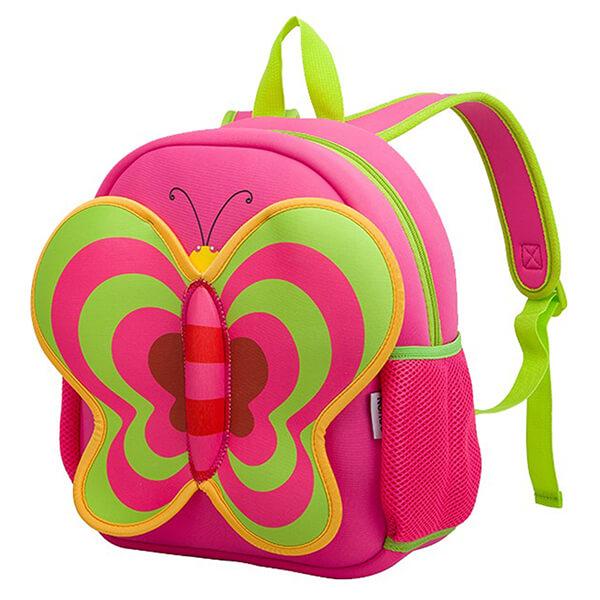 Pink Lightweight Neoprene Butterfly Backpack for Girls
