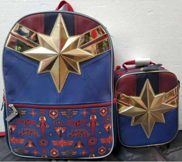 Bioworld X Marvel Girls Captain Marvel Backpack and Lunch Bag