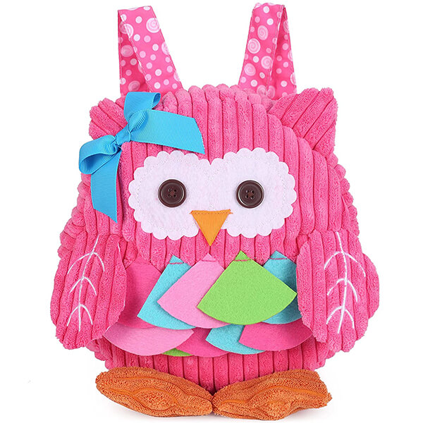 3D Plush face Happy Owl Girls Backpack
